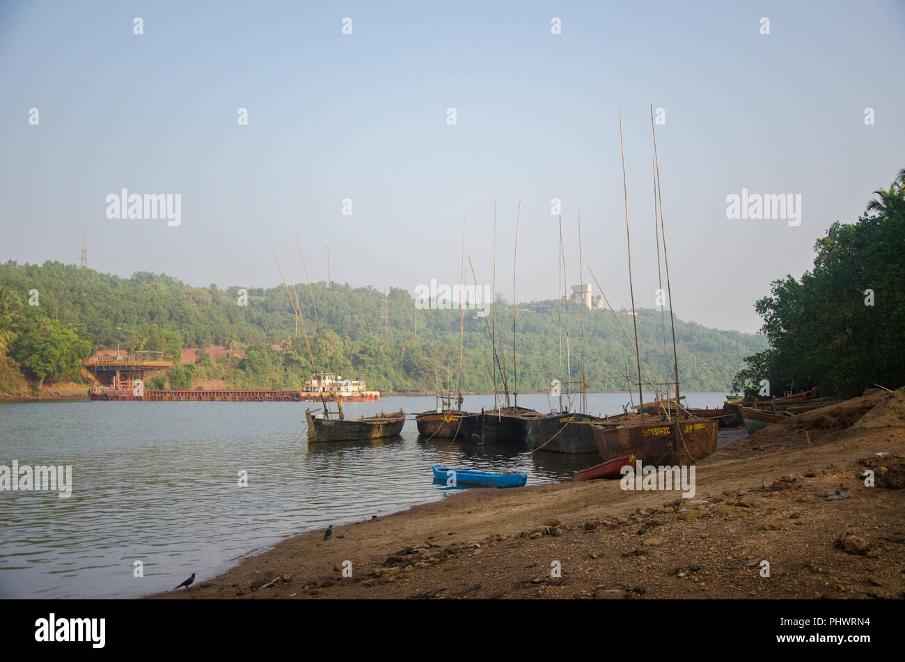 Boats used for mining sand from the Mandovi Riverbed near Volvoi Ferry Terminal, Savoi-Verem, Goa, India - Stock Image