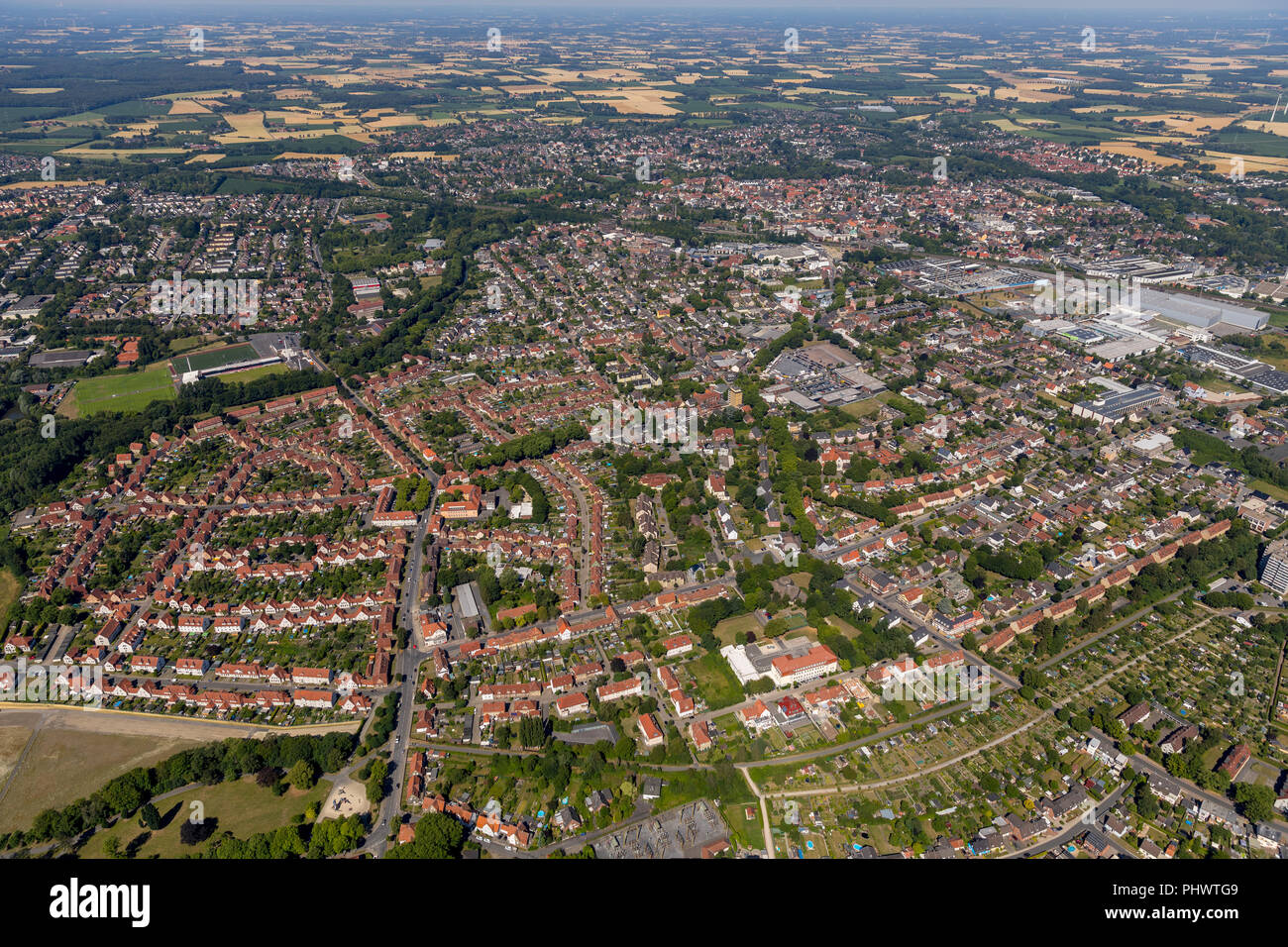 Rosendahl, Ahlen, Ruhrgebiet, North Rhine-Westphalia, Germany, DEU, Europe, aerial photograph, birds-eyes view, aerial photograph, aerial photography, - Stock Image