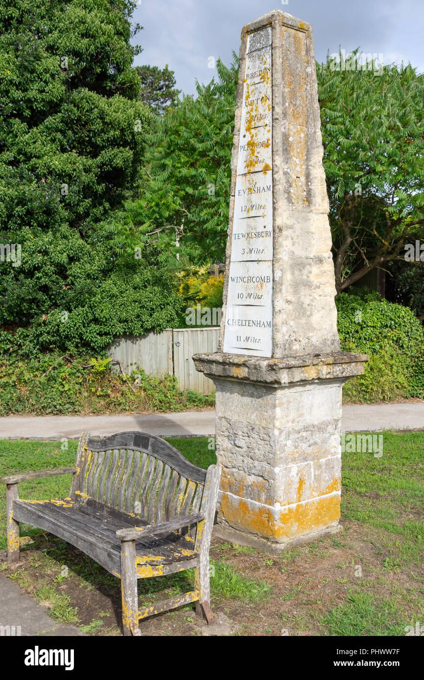 The milestone obelisk, Chucrh Walk, Bredon, Worcestershire, England, United Kingdom - Stock Image