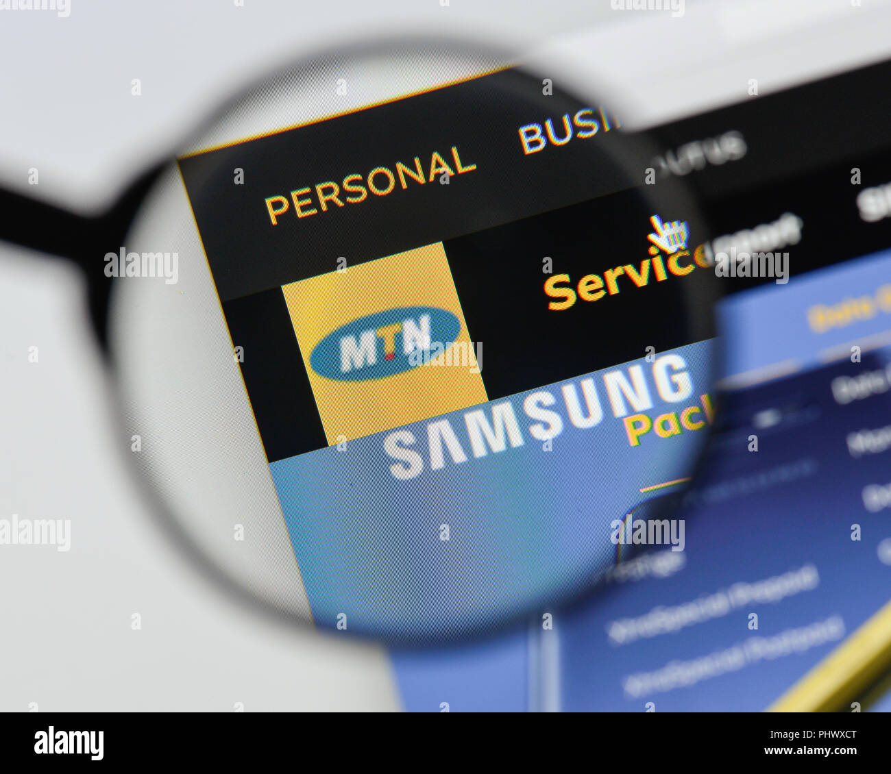 Milan Italy August 20 2018 Mtn Website Homepage Mtn Logo Visible Stock Photo Alamy