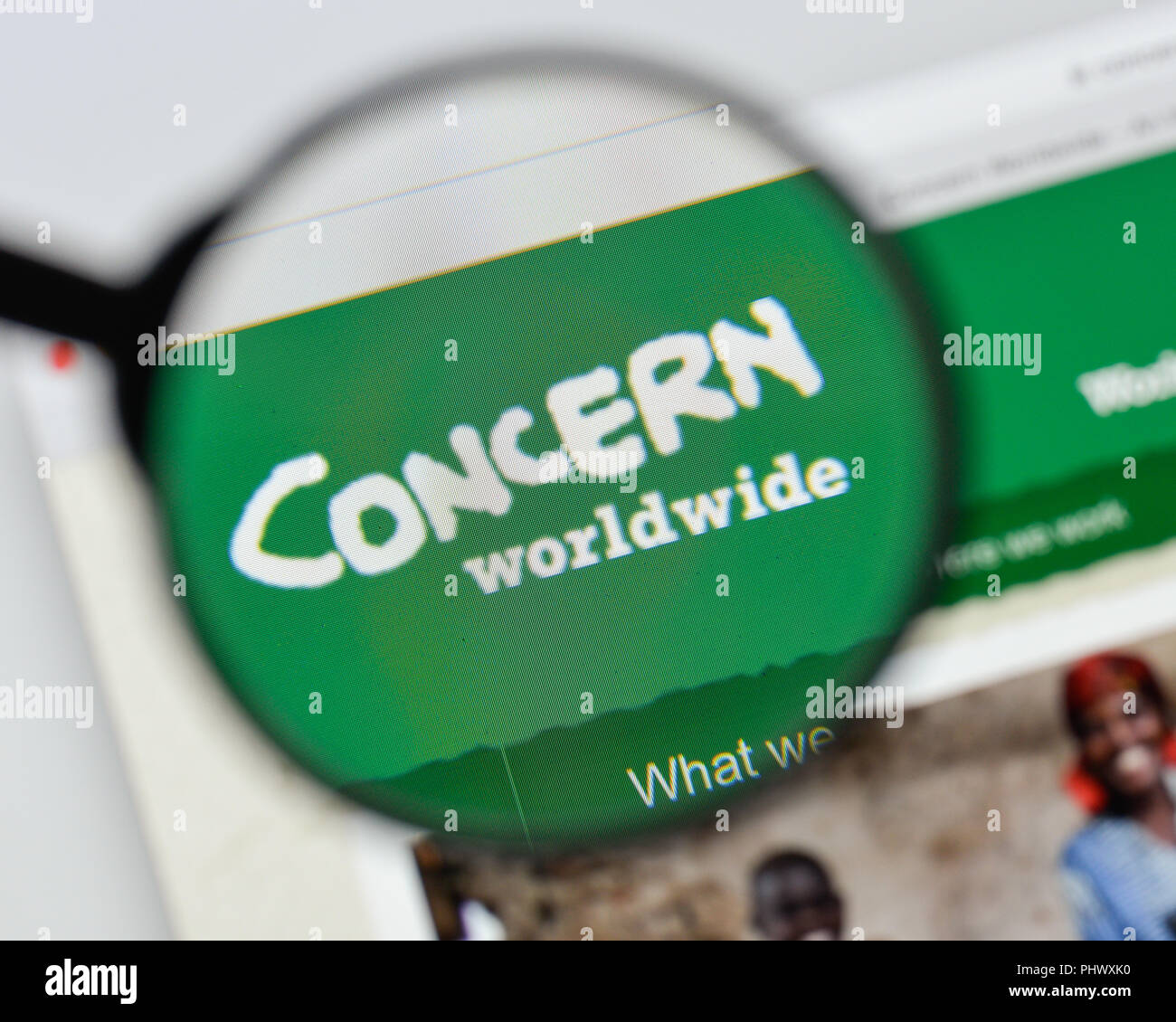 Milan, Italy - August 20, 2018: Concern website homepage. Concern logo visible. - Stock Image