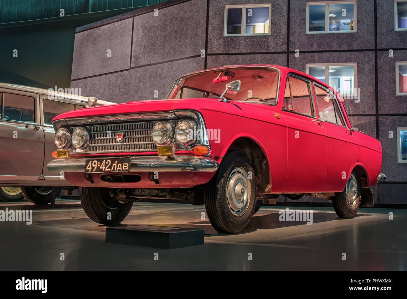 RIGA, LATVIA-APRIL 18, 2018: Soviet car 1968 Moskvitch 408 in the Riga Motor Museum. - Stock Image