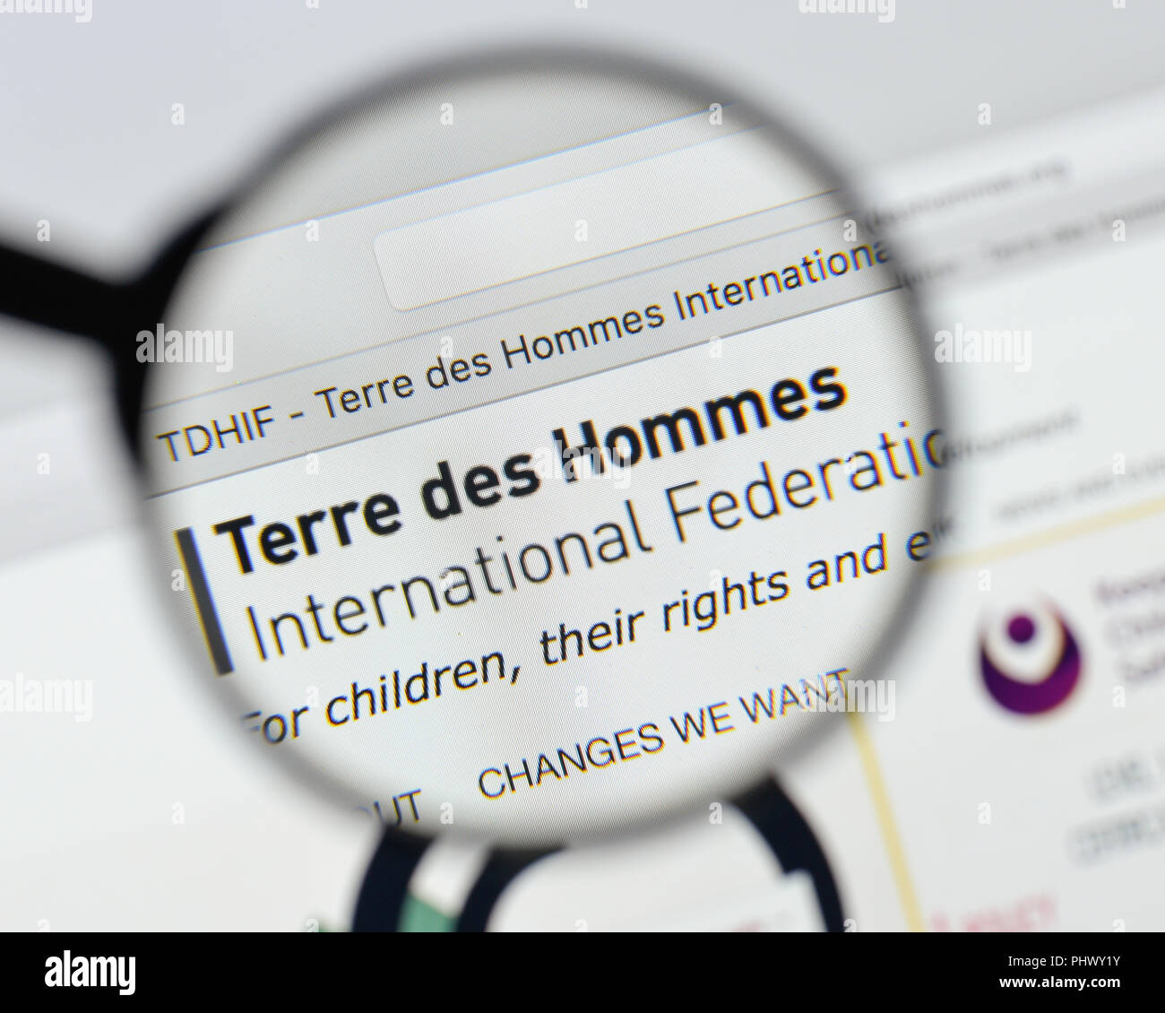 Milan, Italy - August 20, 2018: Terre des Hommes International Federation website homepage. Terre des Hommes International Federation logo visible. - Stock Image