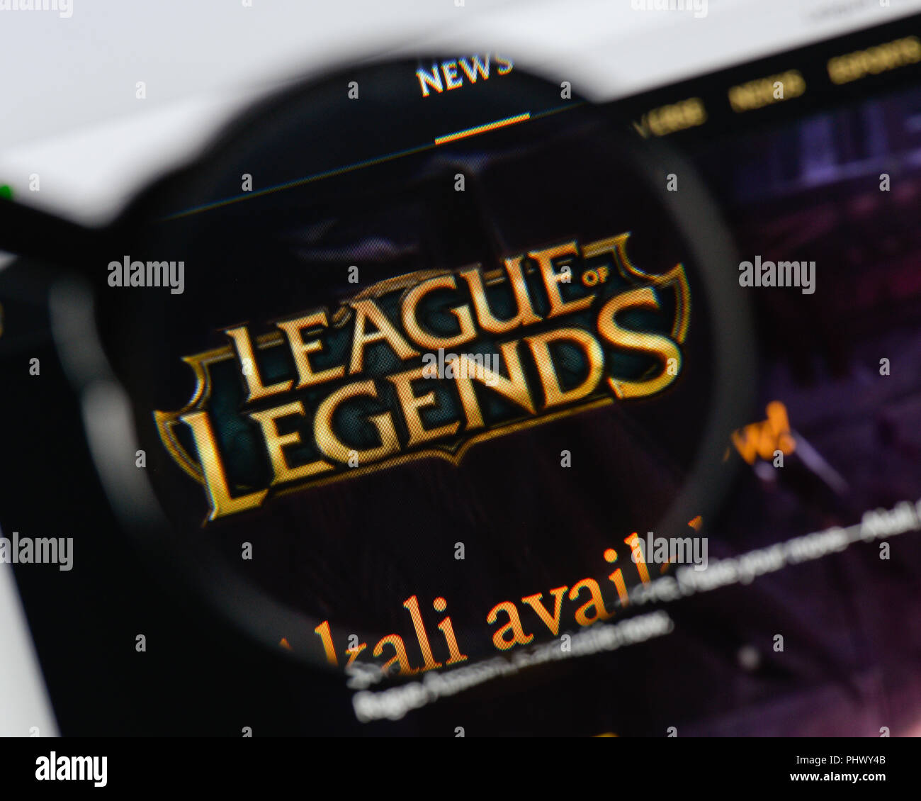Milan, Italy - August 20, 2018: League Of Legends website homepage. League Of Legends logo visible. - Stock Image