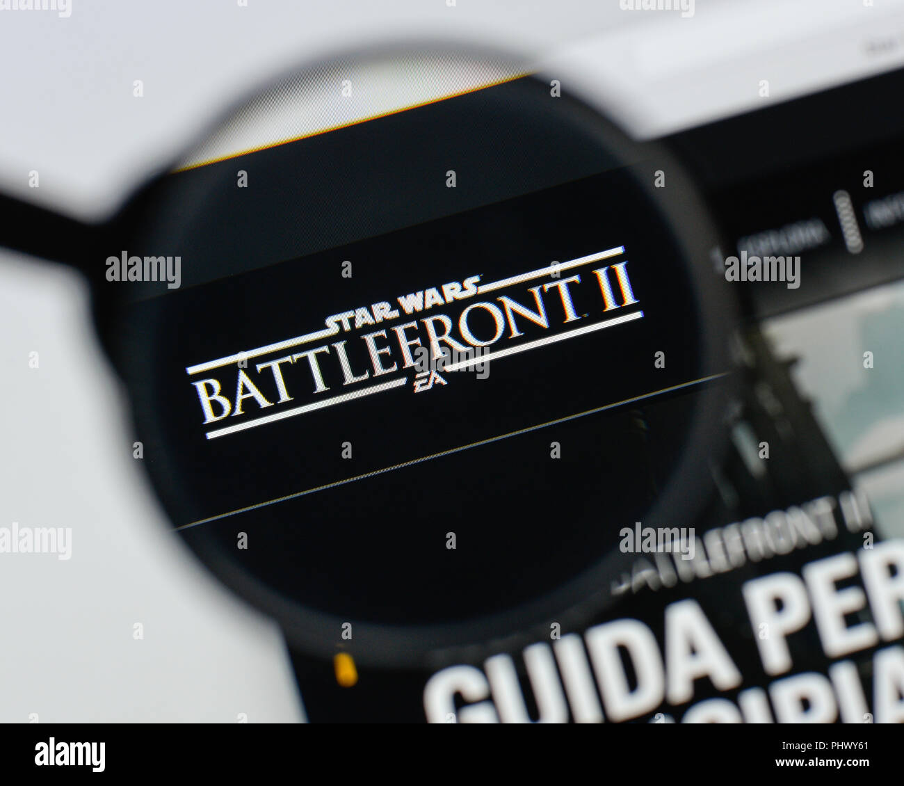 Milan, Italy - August 20, 2018: Star Wars Battlefront II website homepage. Star Wars Battlefront II logo visible. - Stock Image