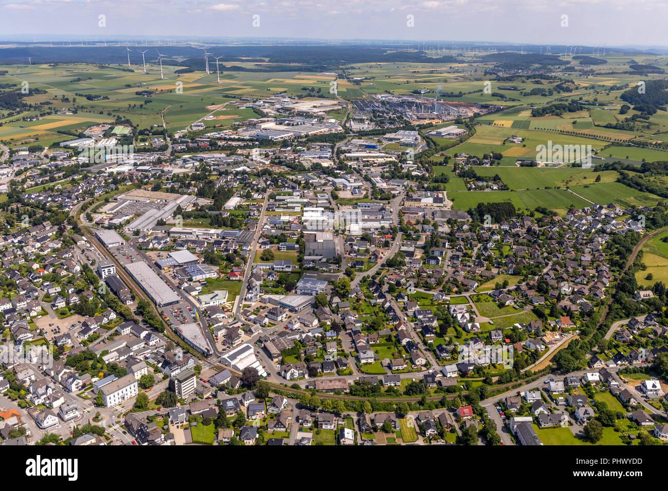 Brilon-Mitte östlicher Teil, Brilon, Sauerland, Nordrhein-Westfalen, Deutschland, DEU, Europa, Luftbild, birds-eyes view, Luftaufnahme, Luftbildfotogr - Stock Image