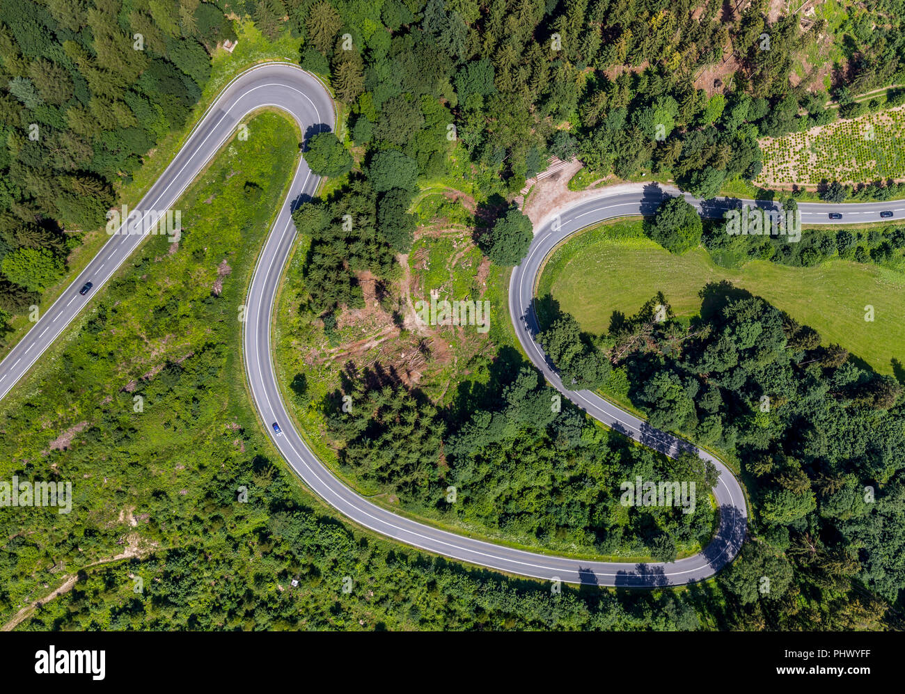 Hairpin bends, Am Bilstein, Highway L870, Motorcycle route with dangerous curves, Brilon, Sauerland, North Rhine-Westphalia, Germany, DEU, Europe, aer Stock Photo