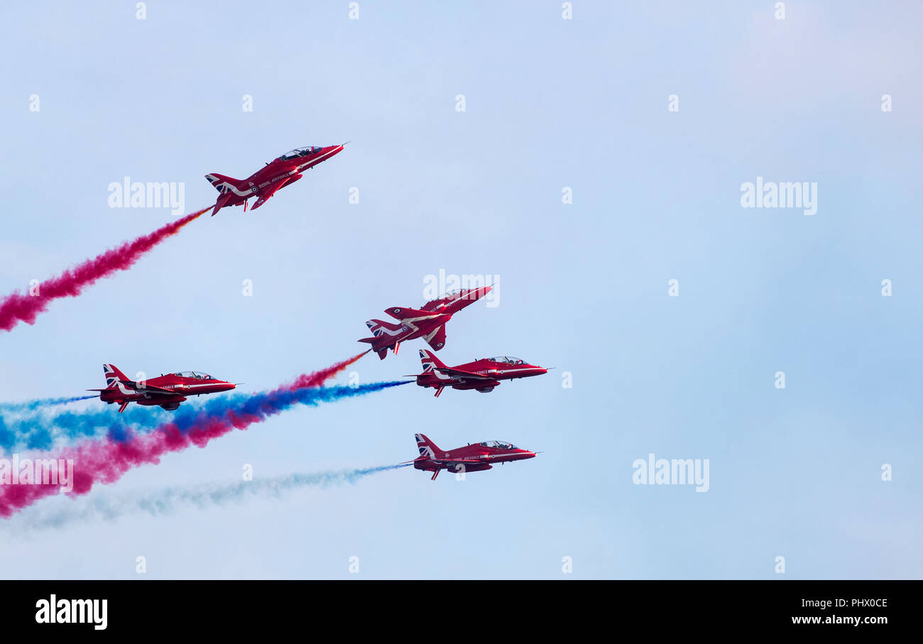 Red Arrows Display at Bournemouth Air Festival, Dorset, UK - Stock Image