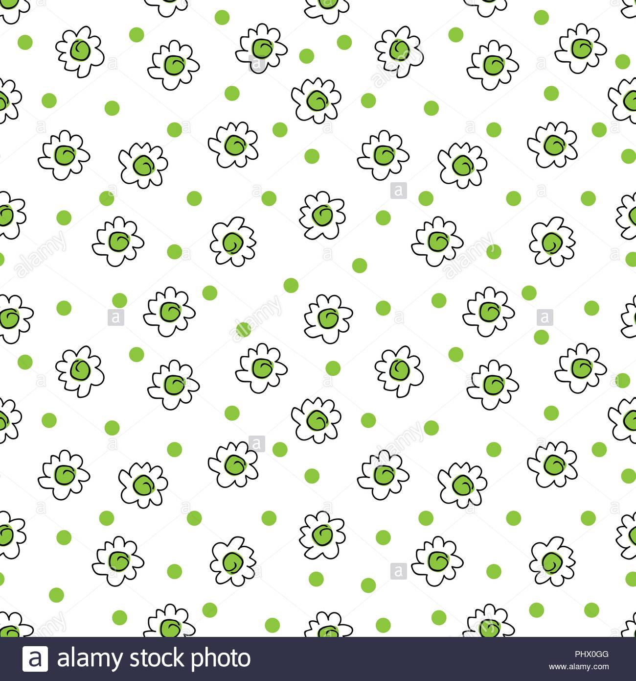 Simple Seamless Vector Background Chamomile Drawing Green