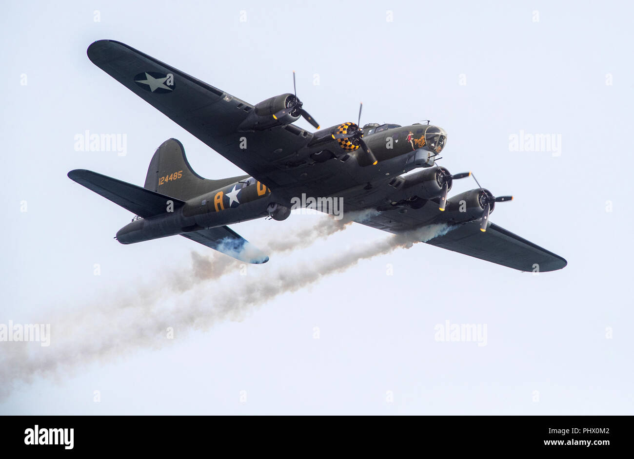 B-17 Bomber plane Sally B flying at Bournemouth Air Festival - Stock Image