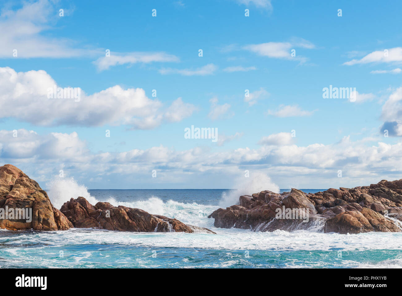 famous rocks in the canal of the coast in Busselton - Stock Image