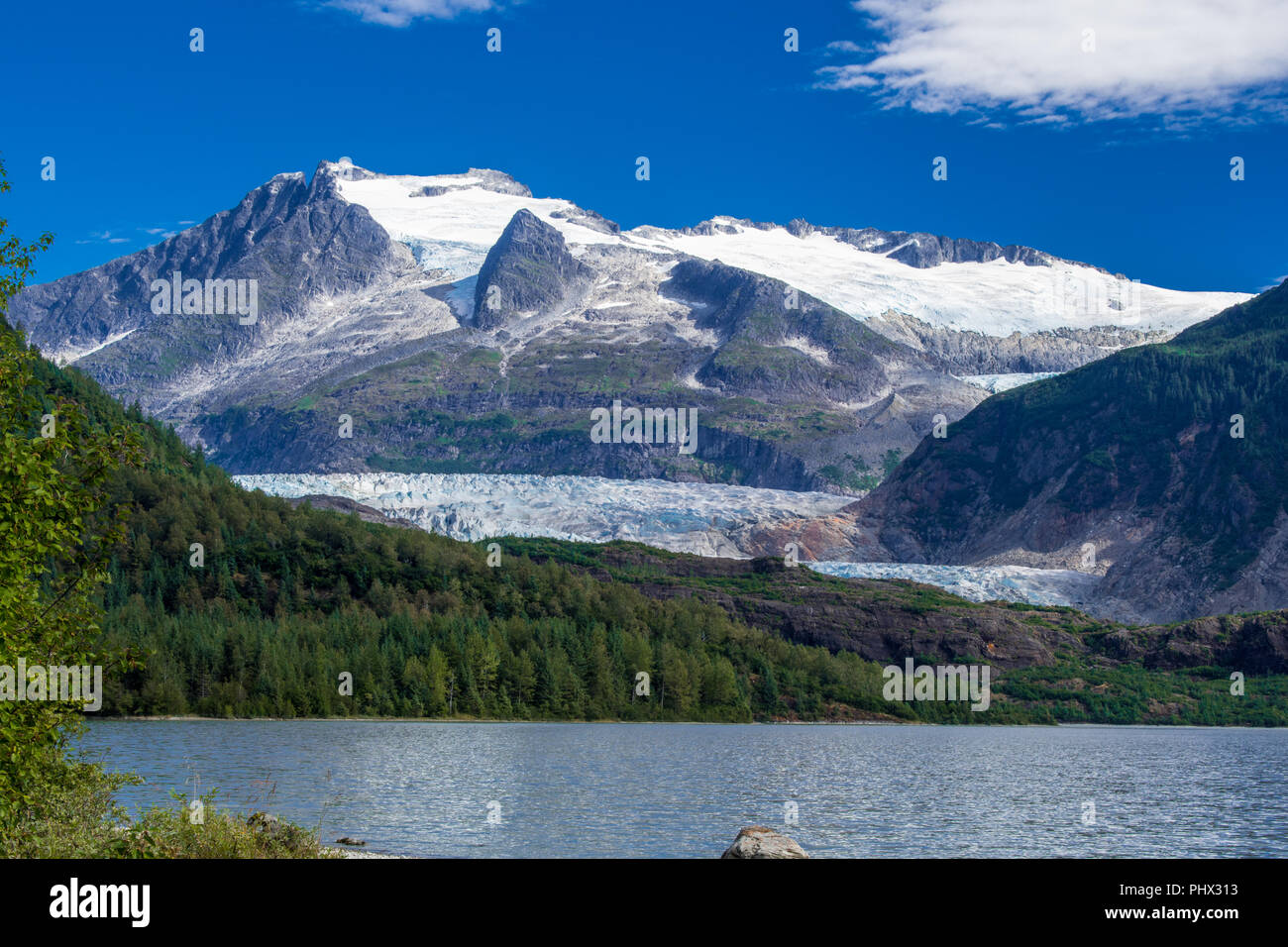 Mendenhall glacier from the lake, Juneau Stock Photo