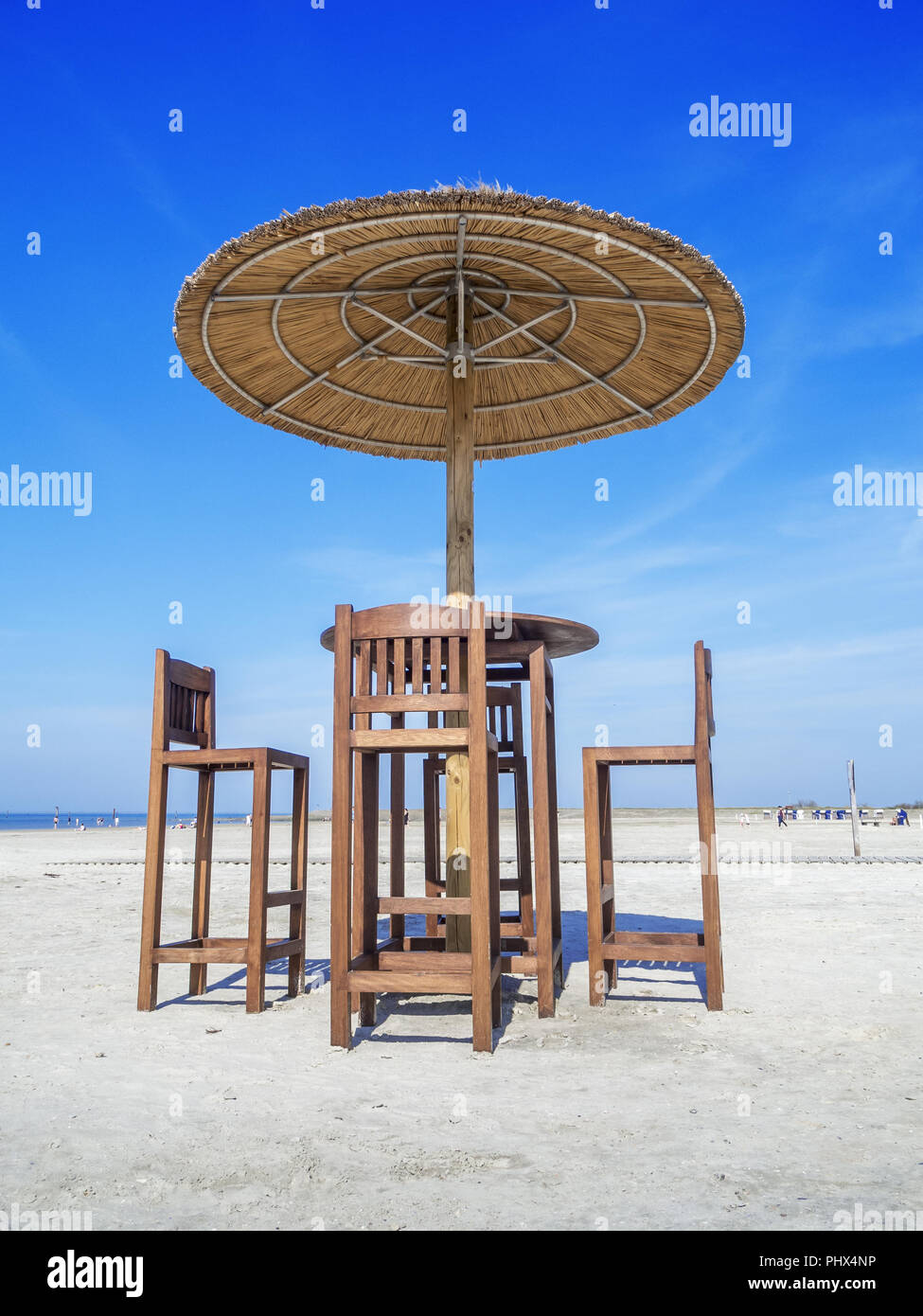 Beach Bar Table With Umbrella Stock Photo 217548066 Alamy