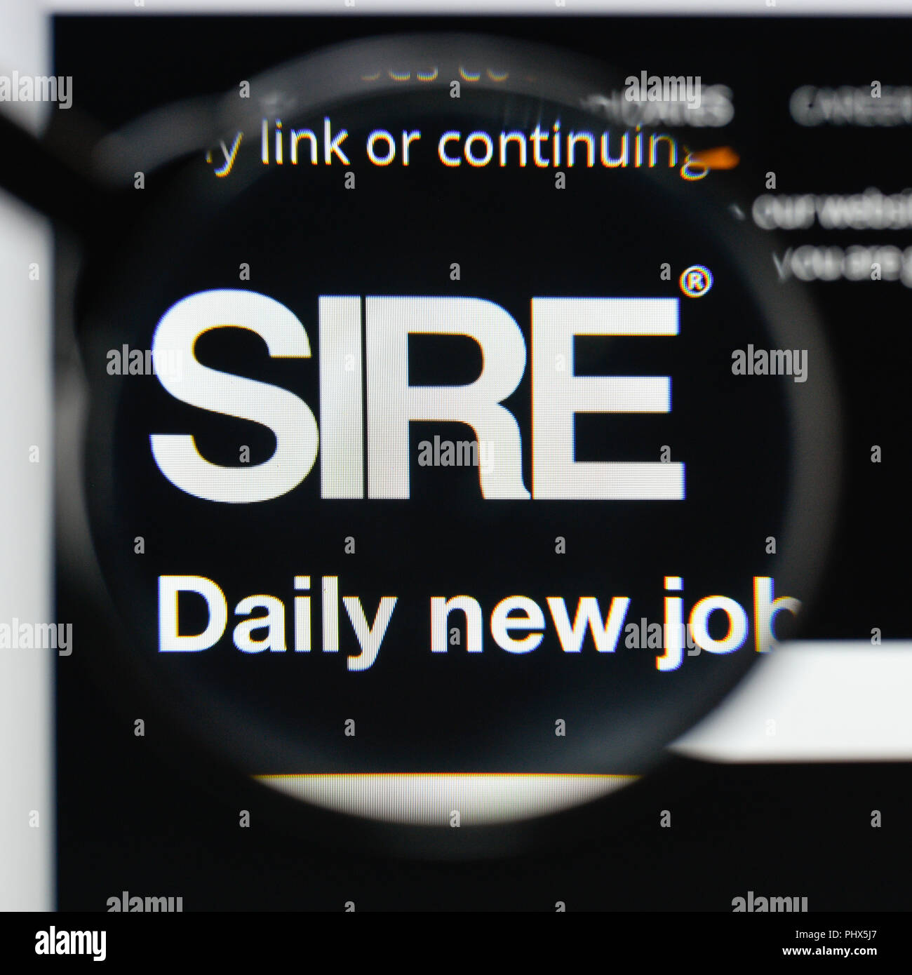 1800af008a7 Milan, Italy - August 20, 2018: SIRE Life Sciences website homepage. SIRE  Life Sciences logo visible.
