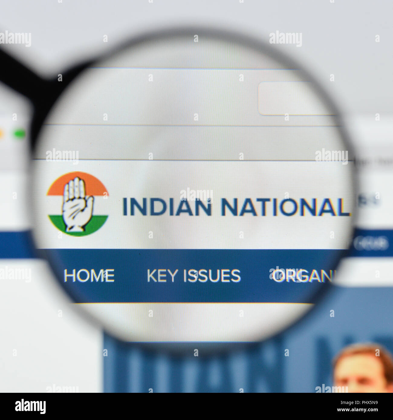 Milan, Italy - August 20, 2018: Indian National Congress website homepage. Indian National Congress logo visible. - Stock Image