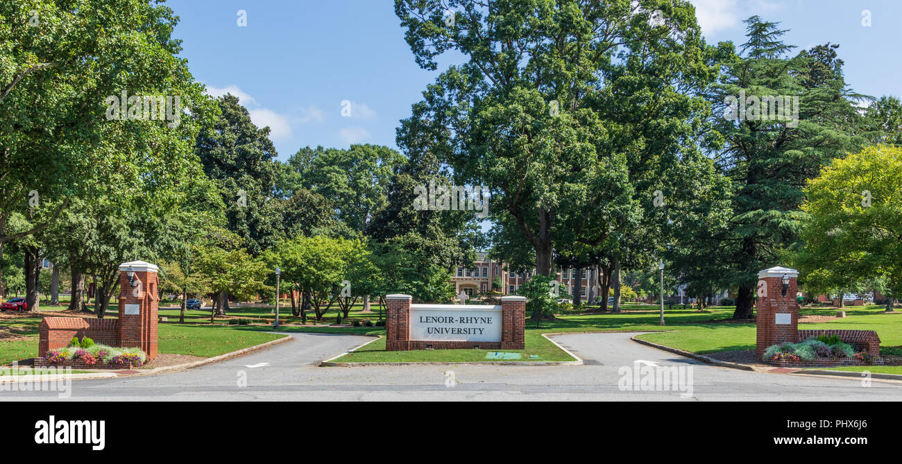 HICKORY, NORTH CAROLINA,  USA-9/1/18: Lenoir-Rhyne University, formerly Lenoir-Rhyne College. - Stock Image