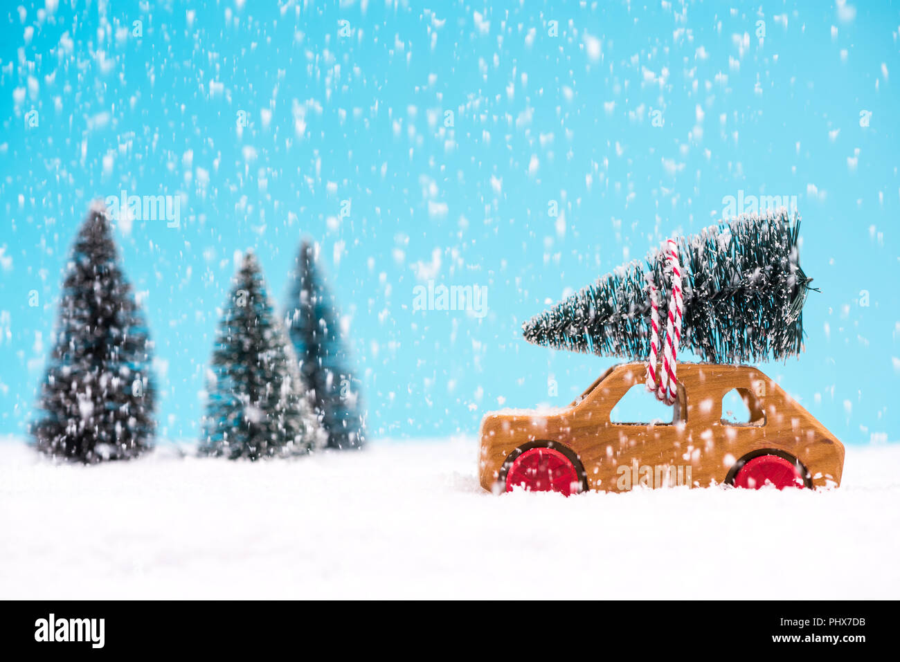 Car Carrying Christmas Tree In Winter Wonder Land Christmas