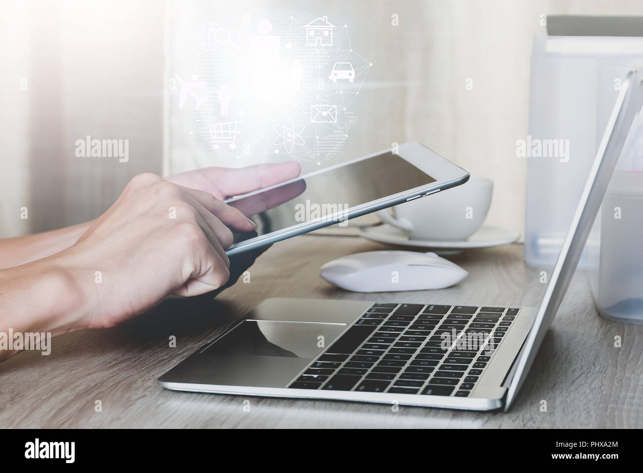 Internet of things concept,Man using tablet with modern technologies business and technology concept - Stock Image
