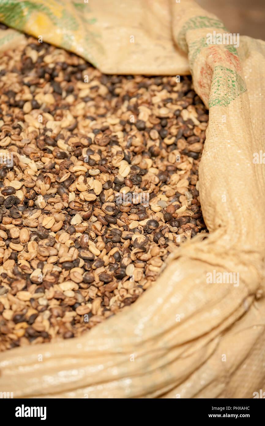 Poas Volcano area, Costa Rica, Central America.  Bag of coffee seeds. Stock Photo