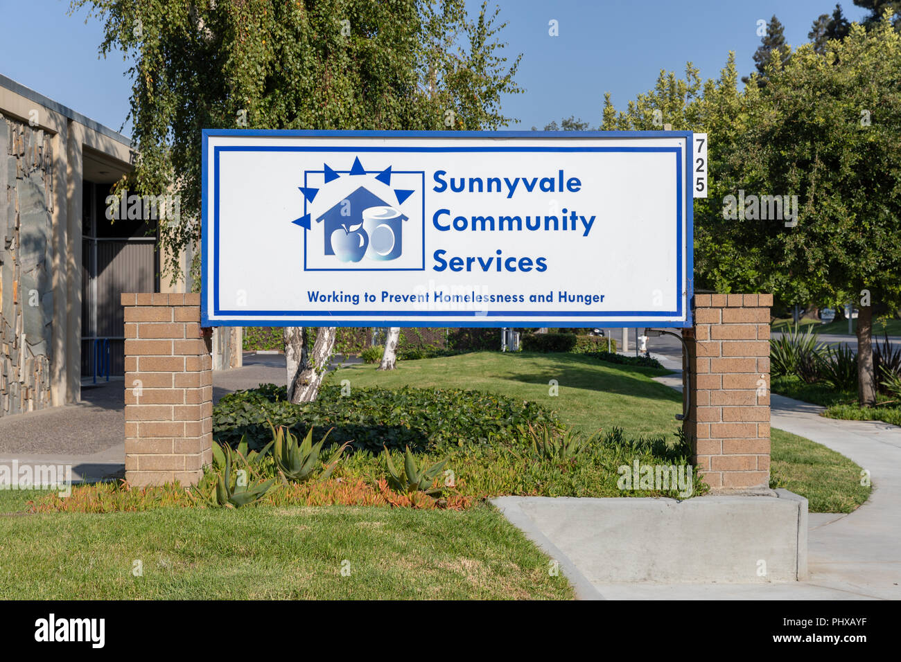 Sunnyvale Community Services – Working to Prevent Homelessness and Hunger, sign; Sunnyvale, California - Stock Image