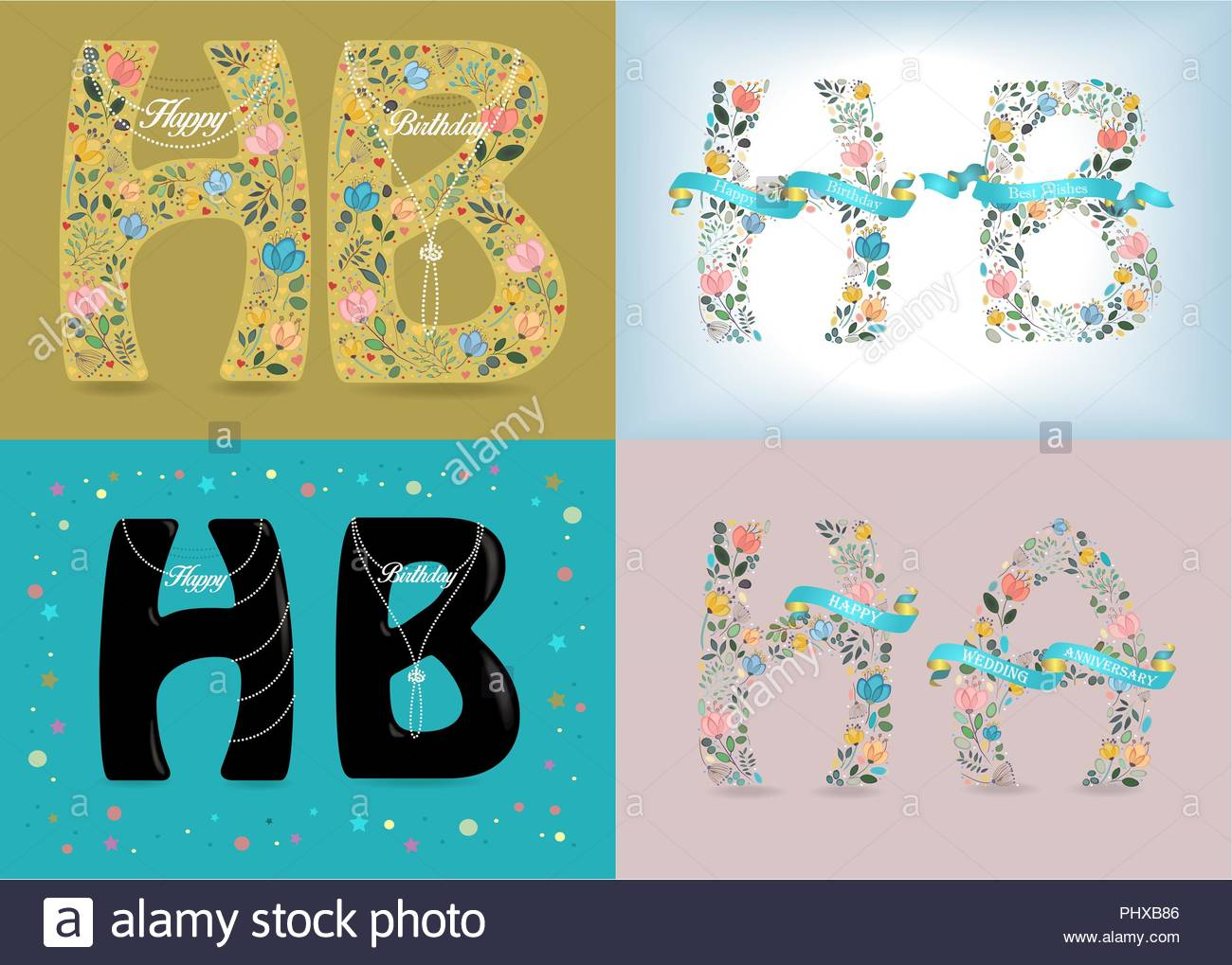 happy birthday set of abbreviations letters h and b folk floral decor graceful watercolor flowers and hearts pearl necklaces with texts as pendan