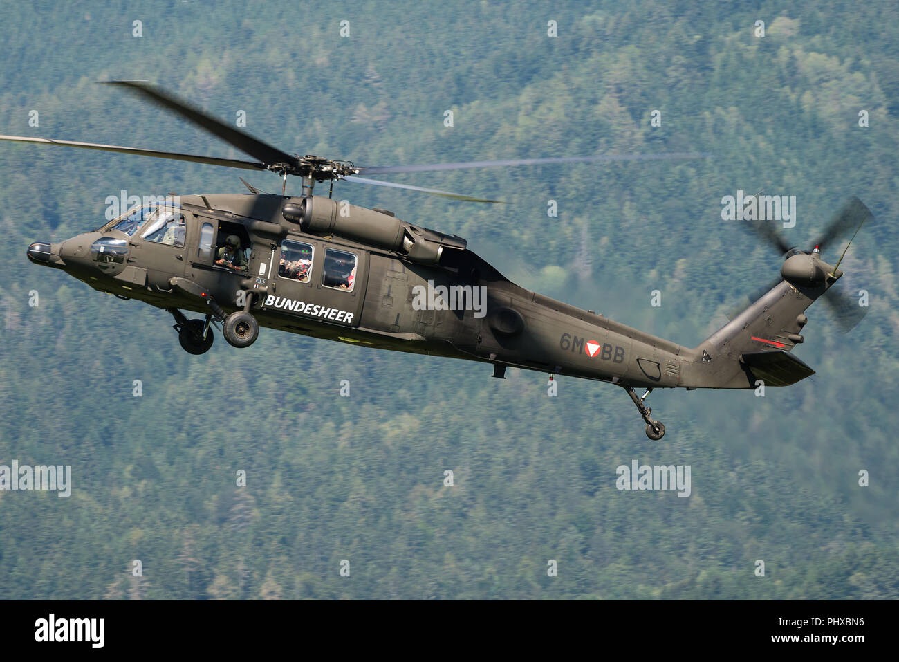 A Sikorsky S-70 military transport helicopter of the Austrian Air Force. - Stock Image