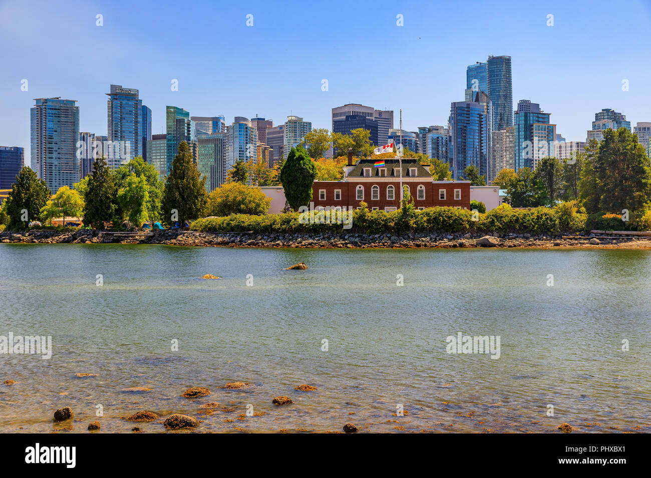 Vancouver, Canada - August 04, 2018: HMCS Discovery naval station museum located on Deadmans Island decorated with a rainbow flag for Gay Pride Stock Photo