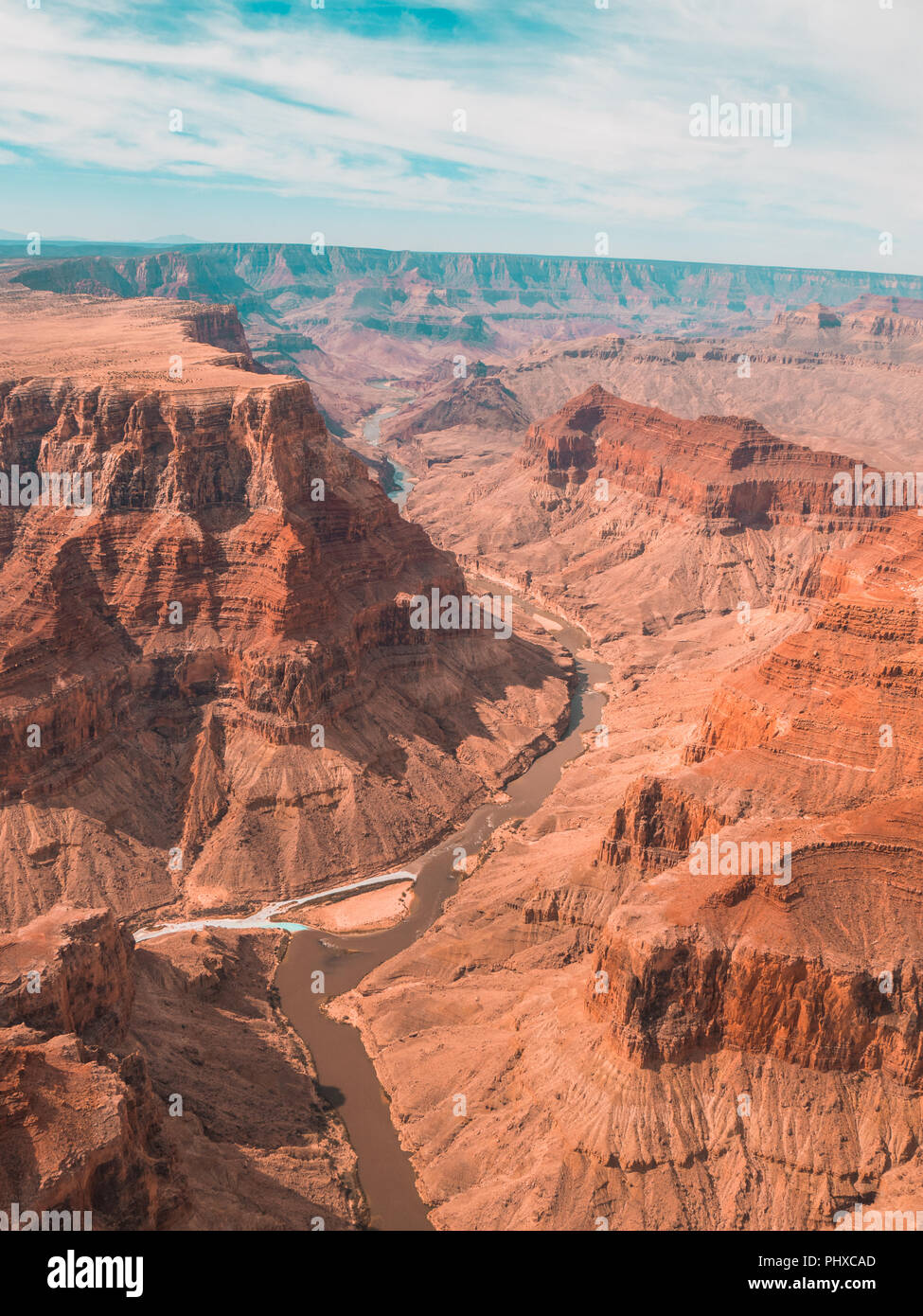 View from helicopter over the grand canyon - Stock Image