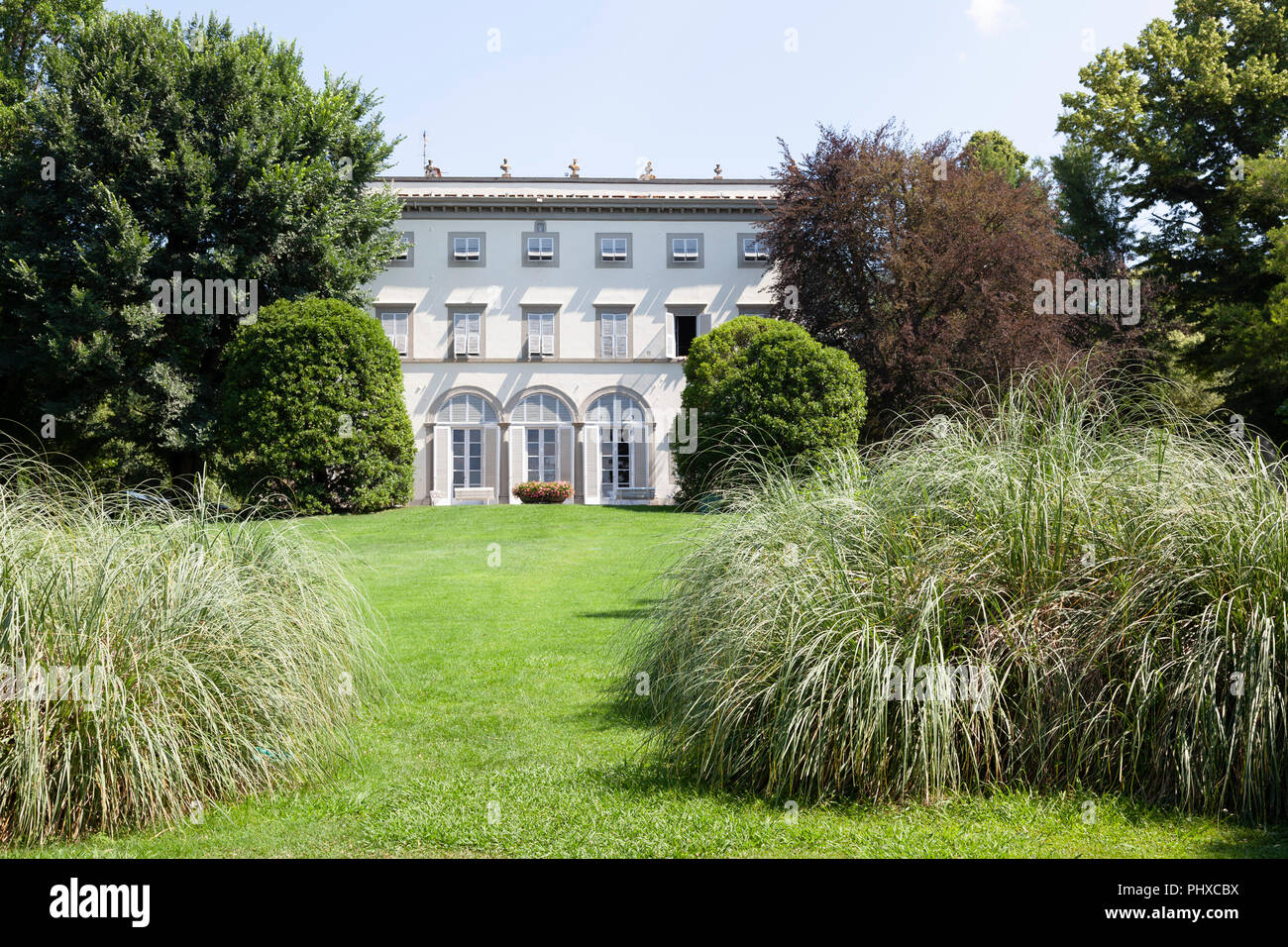 The Grabau villa, at Lucca (Tuscany - Italy). Neoclassical building, the villa presents to visitors to see a nine hectare landscaped botanical garden. - Stock Image