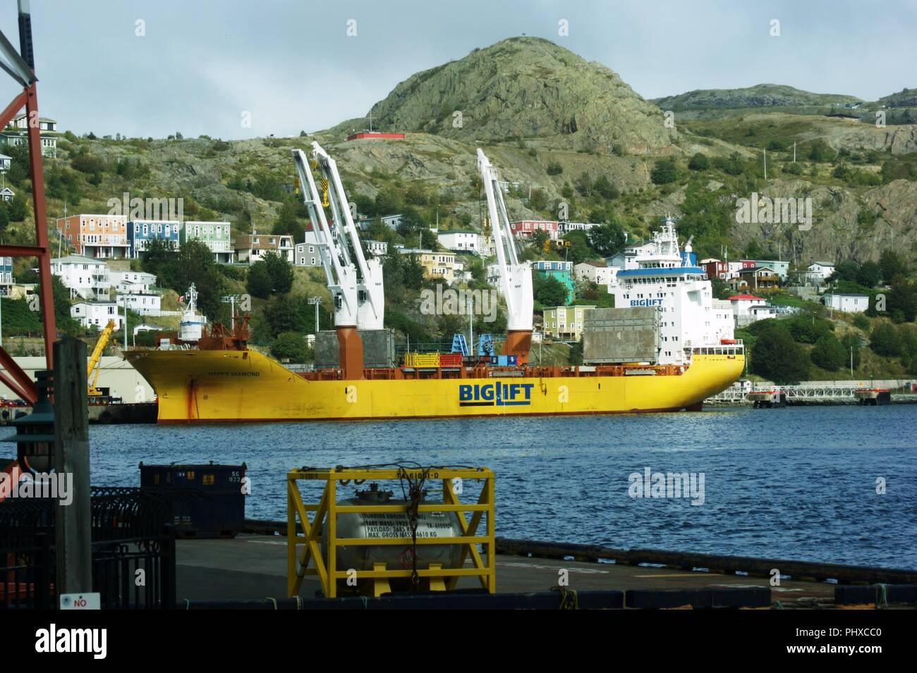 Big Lift's Heavy lift Ship Happy Diamond unloads at St. Johns, Newfoundland - Stock Image