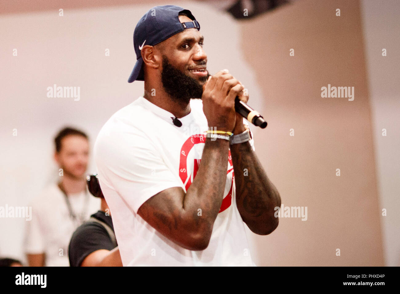 Berlin, Germany. 02nd Sep, 2018. 2.9.2018, Berlin: James LeBron, NBA professional of the Los Angeles Lakers, speaks at an event during the promotion tour 'More than an athlete'. The two-time Olympic champion has won the North American professional league NBA three times in his career and is regarded as the best basketball player of his generation. Credit: Carsten Koall/dpa/Alamy Live News - Stock Image