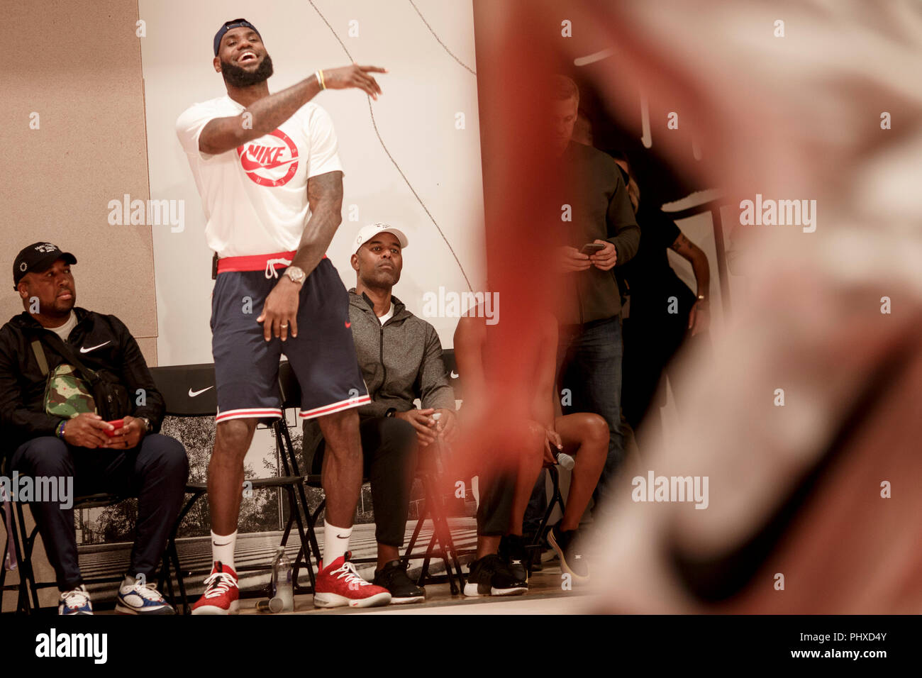 Berlin, Germany. 02nd Sep, 2018. 2.9.2018, Berlin: James LeBron, NBA professional of the Los Angeles Lakers, plays at a tournament during the promotion tour 'More than an athlete'. The two-time Olympic champion has won the North American professional league NBA three times in his career and is regarded as the best basketball player of his generation. Credit: Carsten Koall/dpa/Alamy Live News - Stock Image