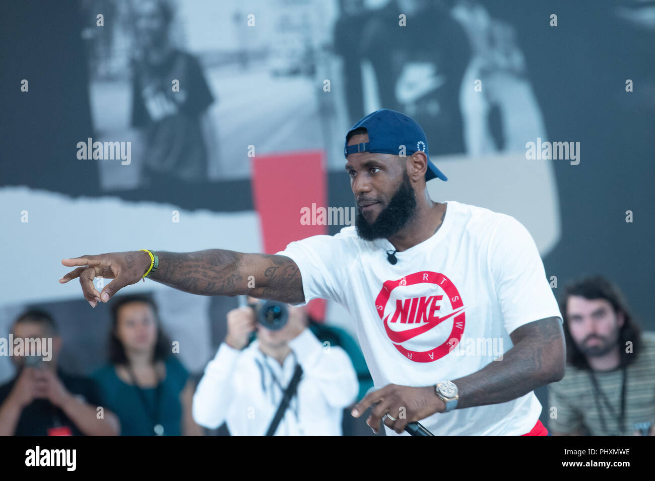 Berlin, Germany. 02nd Sep, 2018. 02.09.2018, Berlin: The American basketball player LeBron Raymone James welcomes the spectators and guests of the 'More than an athlete tour'. Credit: Paul Zinken/dpa/Alamy Live News - Stock Image