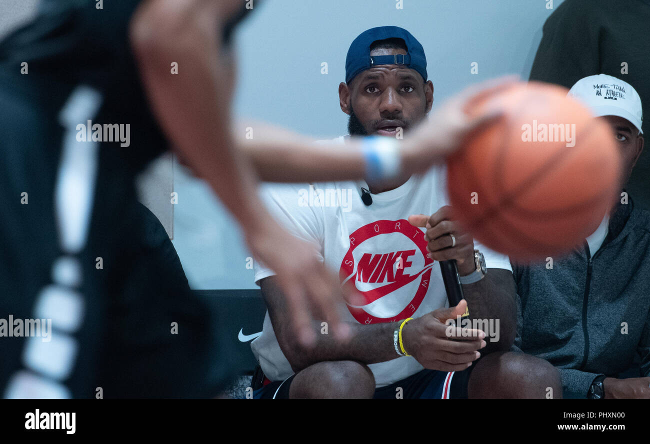 Berlin, Germany. 02nd Sep, 2018. 02.09.2018, Berlin: The American basketball player LeBron Raymone James follows a basketball game on the 'More than an athlete' tour. Credit: Paul Zinken/dpa/Alamy Live News - Stock Image