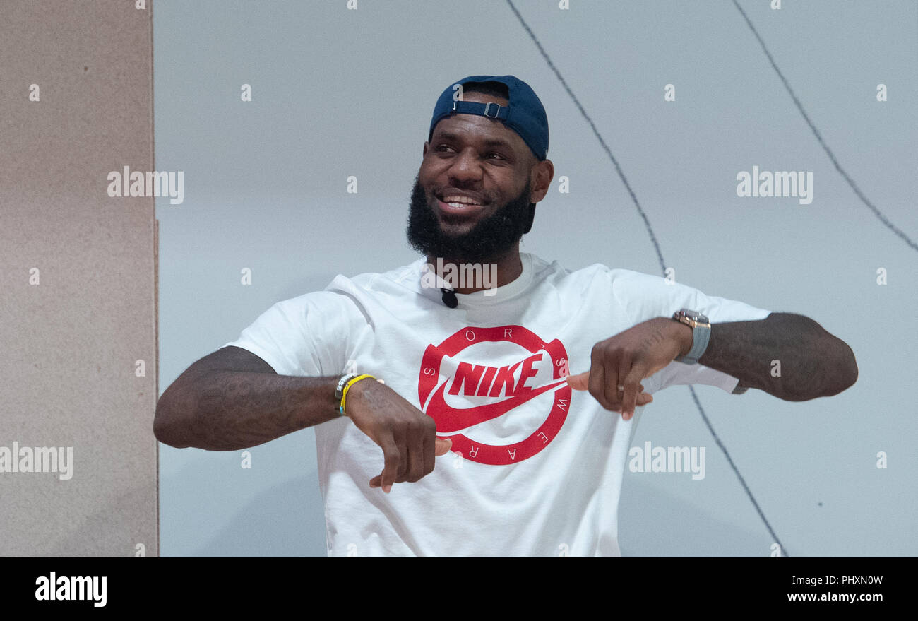 Berlin, Germany. 02nd Sep, 2018. 09/02/2018, Berlin: The American basketball player LeBron Raymone James dances at the 'More than an athlete tour' during a basketball game. Credit: Paul Zinken/dpa/Alamy Live News - Stock Image