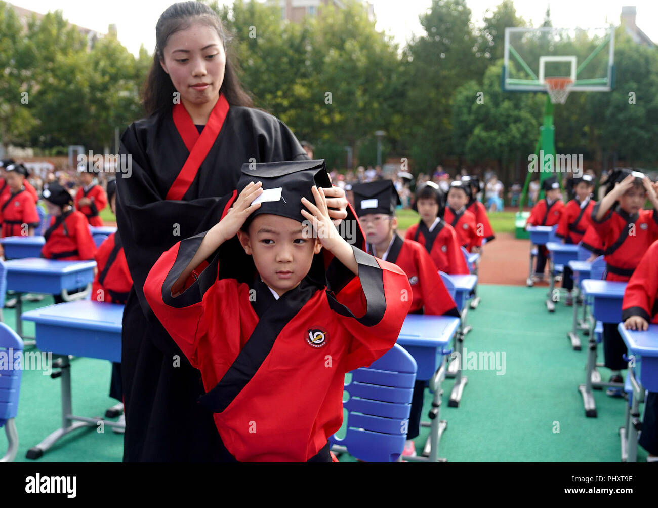 Shanghai, China  3rd Sep, 2018  Students engage in an activity at a