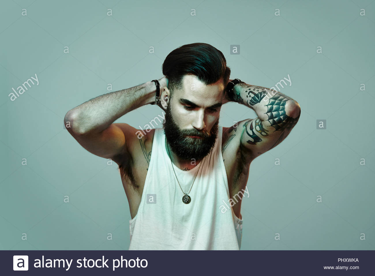 Beard Man Tattoo High Resolution Stock Photography And Images Alamy