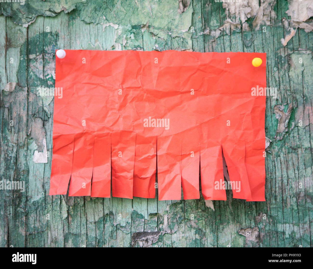 blank red paper with tear off tabs stock photo 217566219 alamy