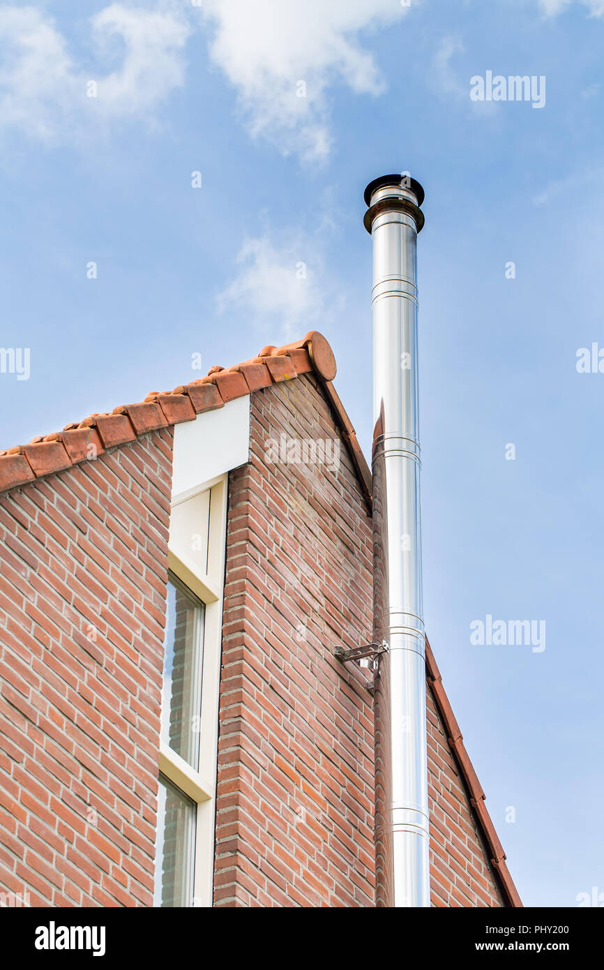 Swell Metal Chimney Pipe On Facade Of House Stock Photo 217567840 Beutiful Home Inspiration Truamahrainfo