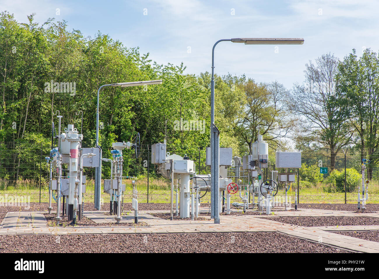 Dutch gas installation with gas pipes outdoors - Stock Image