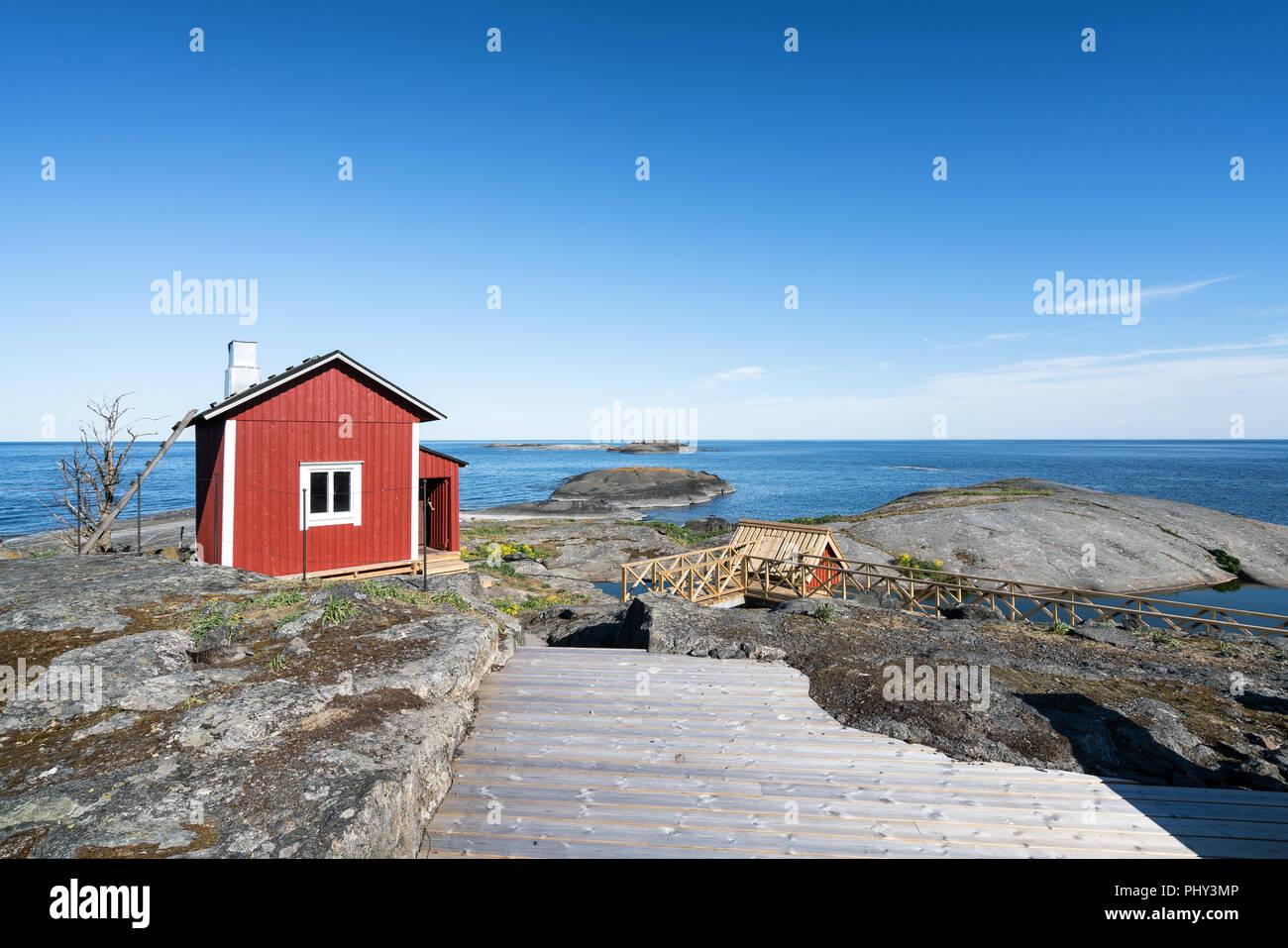 Sauna building at Söderskär lighthouse, Porvoo archipelago, Finland, Europe - Stock Image