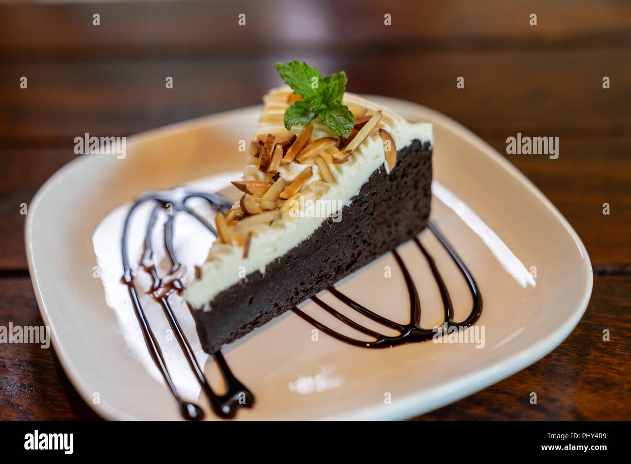 Close up chocolate cake homemade on wooden table Stock Photo