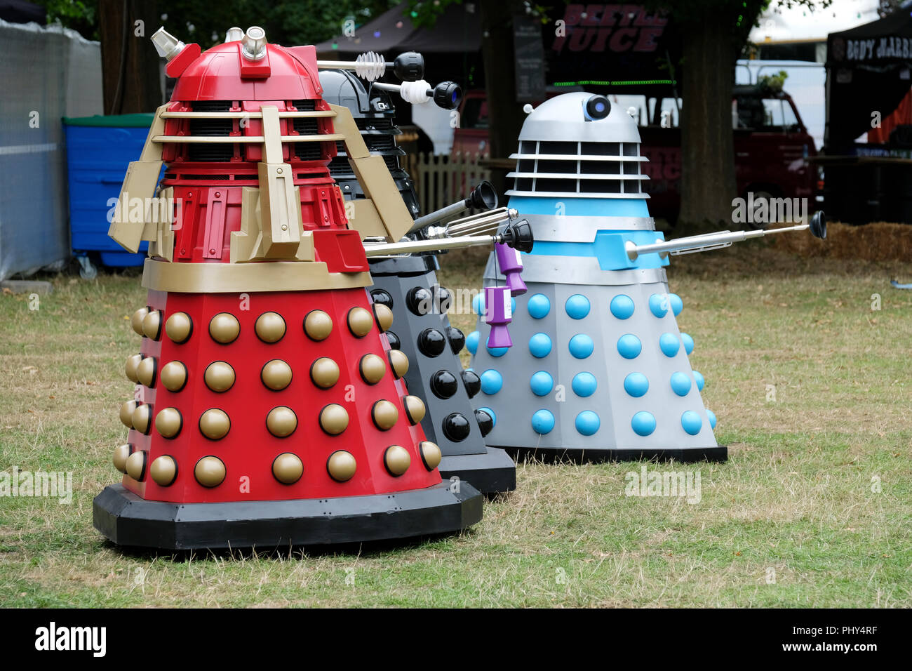 Daleks, a fictional extraterrestrial race of mutants, who star in the science fiction television programme Doctor Who at the Weyfest Music Festival, T - Stock Image