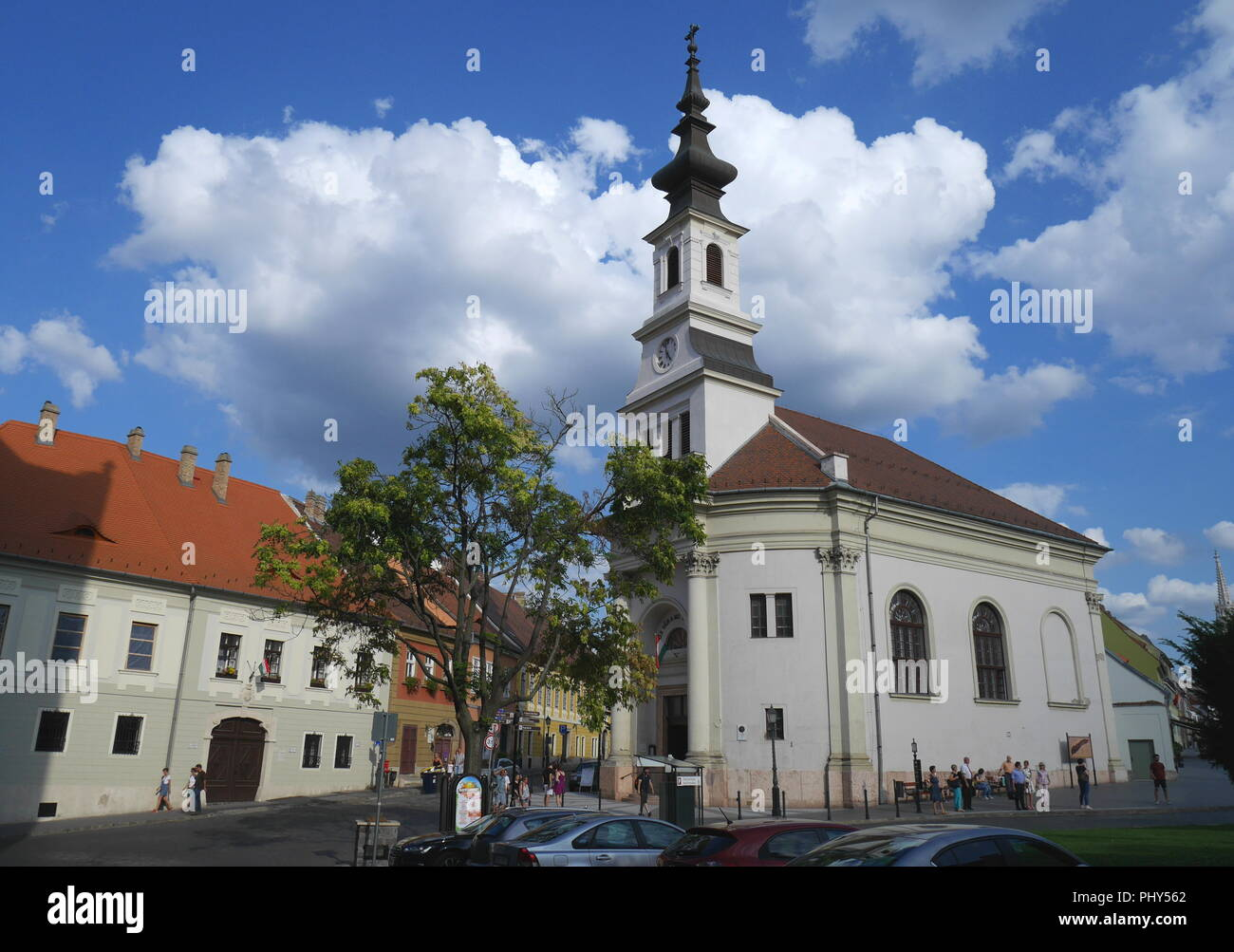 The Evangelical Church in Bécsi Kapu ter, Vienna Gate Square, Castle District, Budapest, Hungary Stock Photo