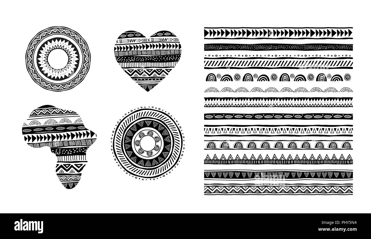African, tribal, ethnic vector pattern brushes  Vector