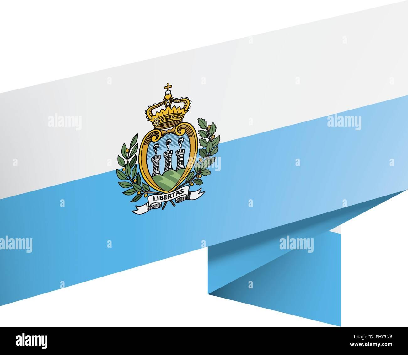 San Marino flag, vector illustration on a white background - Stock Image