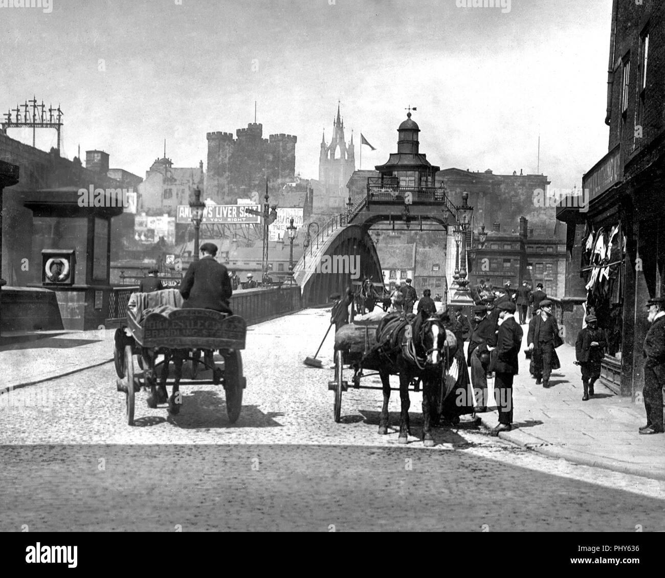 Bridge over the Tyne, Gateshead, early 1900s - Stock Image