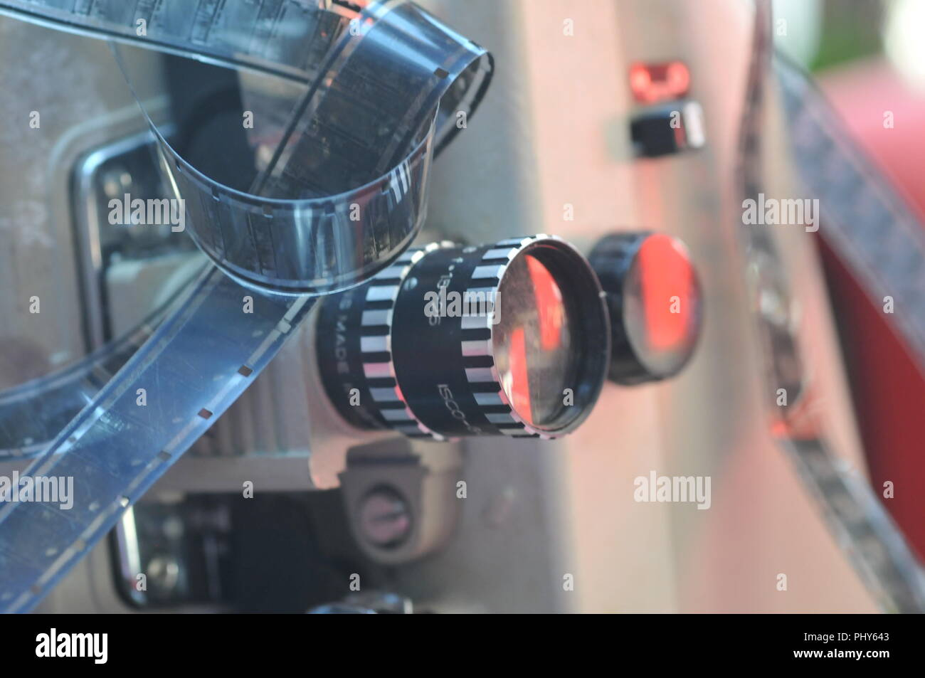 still-life of film strips and film accessories - Stock Image