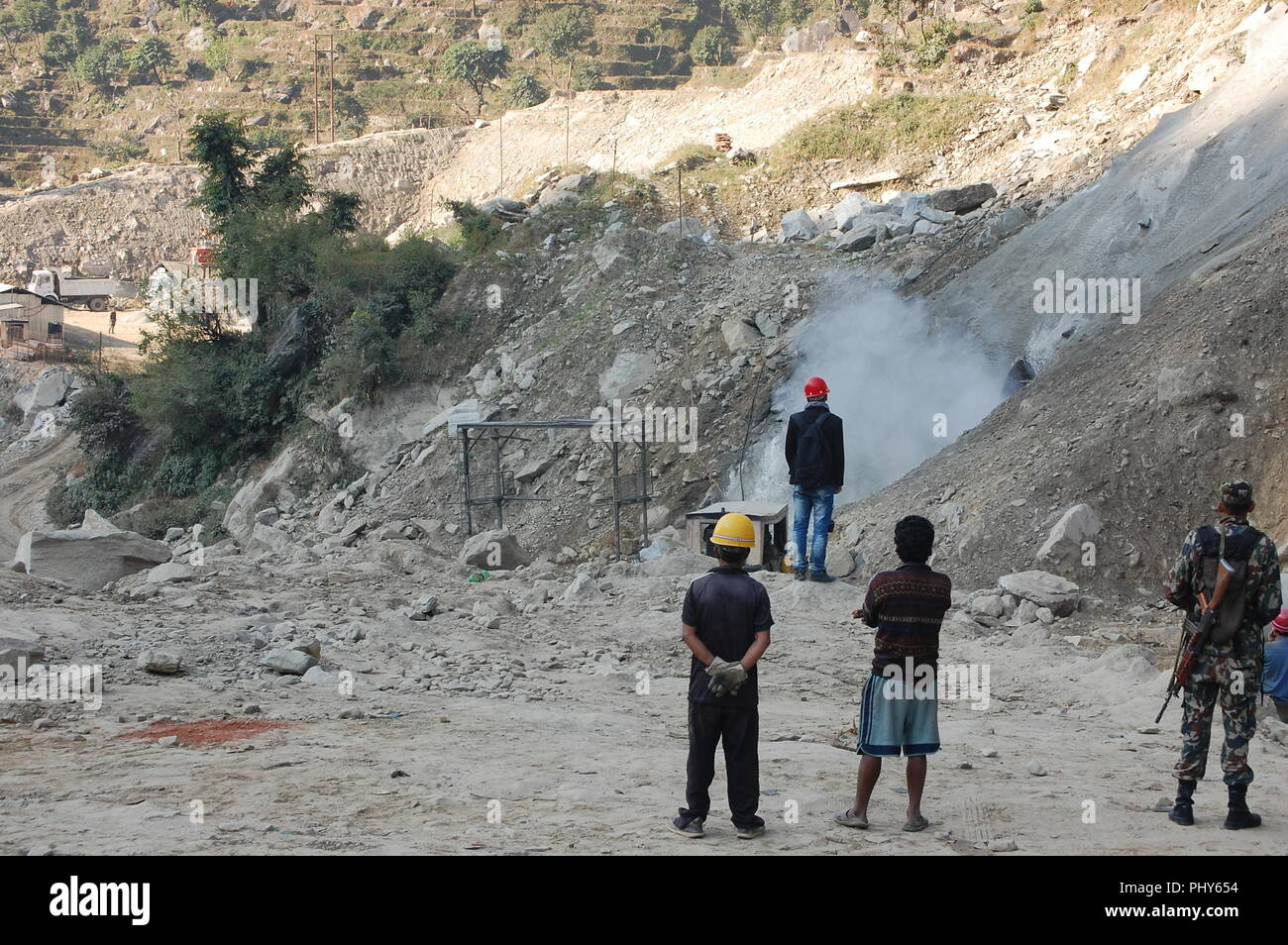 Upper Trisuli 3A Hydroelectric Power station construction, Nepal - Stock Image