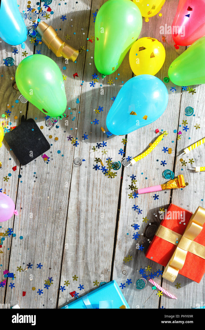 Top View Birthday Party Background Frame Of Various Decoration
